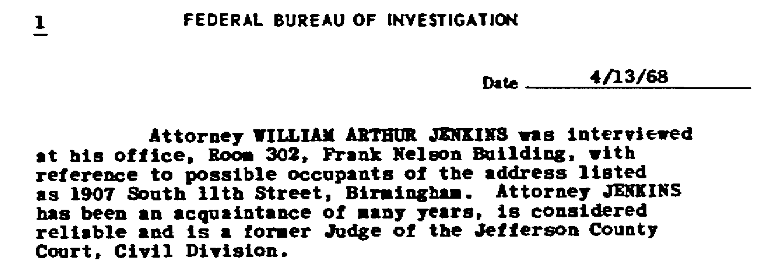 Excerpt from Snow's report regarding Judge Jenkin