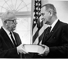 Earl Warren presenting the Warren Report to President Johnson