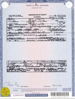 Death Certificate for Gordon Campbell
