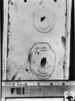 FBI photo E3, one of several pictures of circled bullet holes