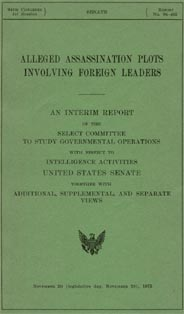 Cover of the Church Committee's 1975 report: Alleged Assassination Plots Involving Foreign Leaders.