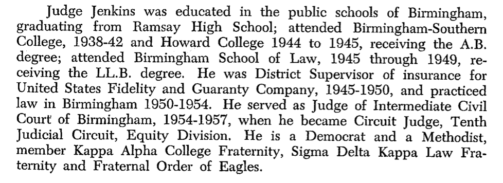 Except from Jenkins entry in 1959 Alabama Official and Statistical Register