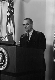 President Lyndon Johnson delivers 'Midnight Address' on 2nd Gulf of Tonkin incident in Vietnam, 4 Aug 1964.