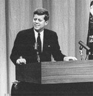 JFK at press conference, 1 Feb 1961.