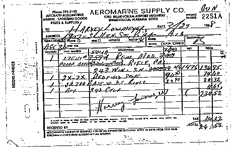 Receipt for rifle sale by Aeromarine Co.