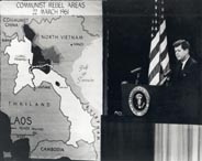 President Kennedy at a press conference with a map of Laos, 1961.